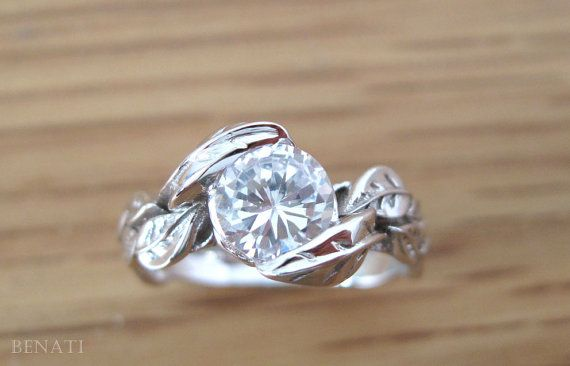 Moissanite Leaf Engagement Ring Moissanite Engagement by Benati