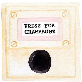 """Press For Champagne"" watercolor print."