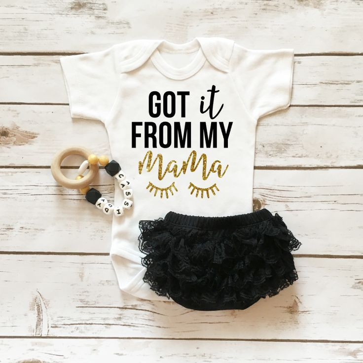 Got It From My Mama Onesie Sparkle Baby Girl Outfit with Ruffle Bottom Lace Bloomers | Baby Girl Clothes | Browse the entire collection at http://www.shopcassidyscloset.com