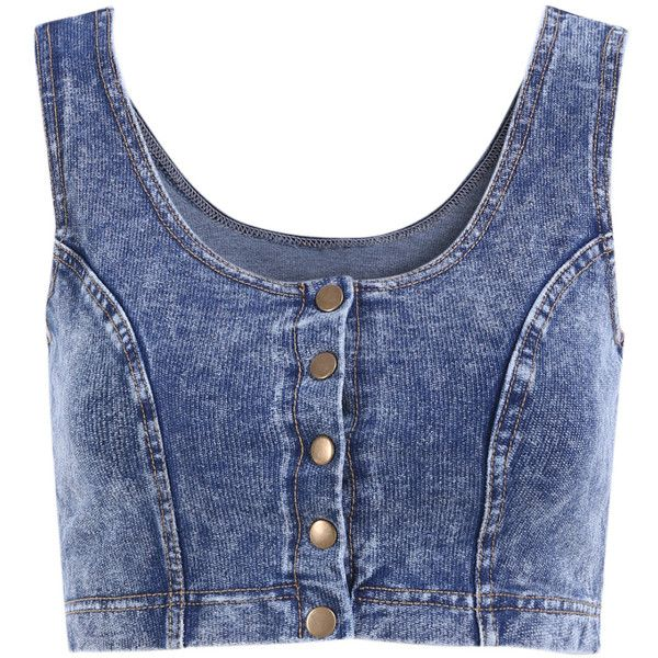 bb8337134814e Scoop Neck Crop Denim Tank Top ( 11) ❤ liked on Polyvore featuring tops