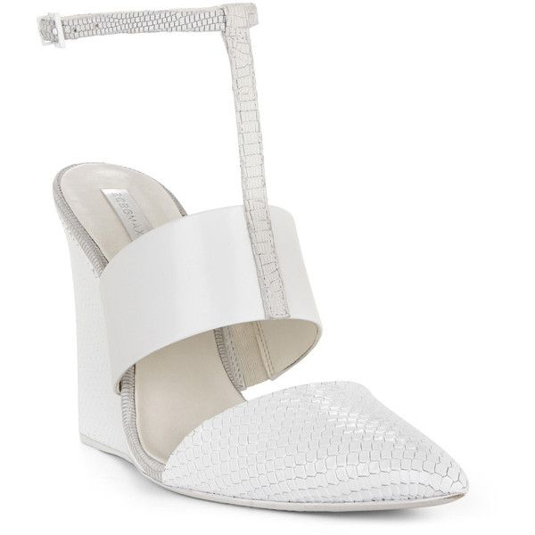 BCBGMAXAZRIA Lister Textured Wedge Sandal ($177) ❤ liked on Polyvore featuring shoes, sandals, white, wedges shoes, ankle strap shoes, white wedge shoes, closed toe wedge sandals and white sandals