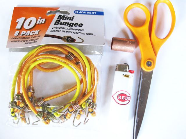 DIY Bungee Cord Bracelet -cut bungee cords and  thread through copper fitting then sew ends together and glue so the ends don't show