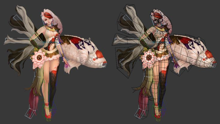 ArtStation - koi and girl 3d hand painting , Hyejin Jeong