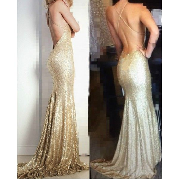 Champagne Gold Sequins Thin Straps Criss-cross Back V Neck Line Backless Shiny Goddess Prom Dress