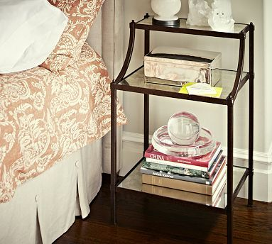 For master or back bedroom, like size and color and antiqued mirrored tops, would look good with wood platform if you go with that. Etagere Bedside Table #potterybarn
