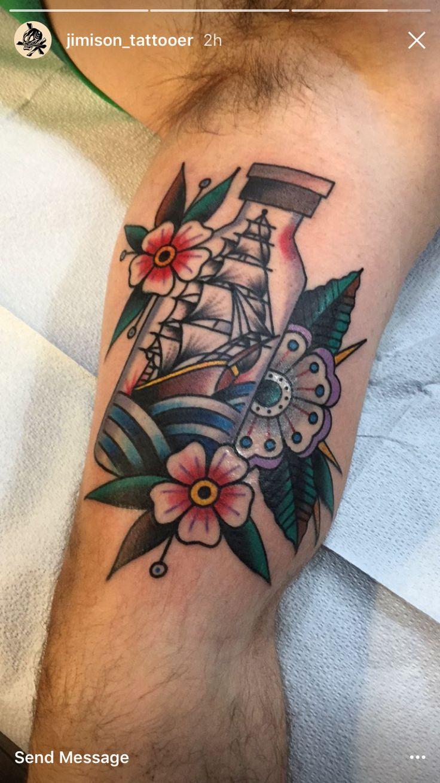Tattoo old school tatuaggi old school pin up significato e foto quotes - Traditional Ship In An Insulin Vial