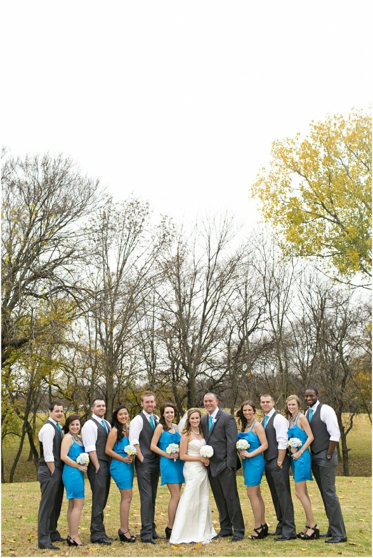 Dallas wedding photographer, Mary Fields Photography, Myers Park, McKinney, TX, fall outdoor wedding pictures, bridal party pictures, teal bridesmaid dresses, gray groomsmen tuxes
