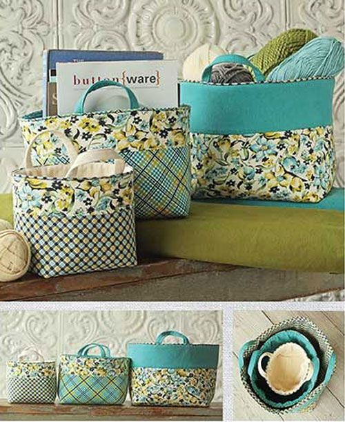 Use your eye for colors and patterns with these banded baskets. These fabric baskets are perfect for storing your sewing tools and supplies, or for organiz