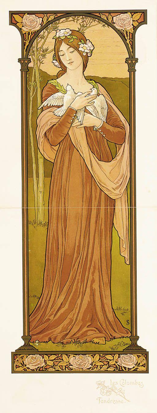 """Elisabeth Sonrel (1874-1953), """"Les Colombes Tendresse"""""""