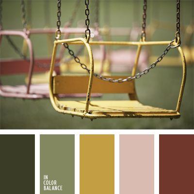 color caqui, color pantano, color rojo pardusco, color verde oliva, combinación de colores, elección del color, marrón, marrón grisáceo, marrón y verde, oliva, rosado grisáceo, tonos marrones, tonos verdes, verde pardusco.