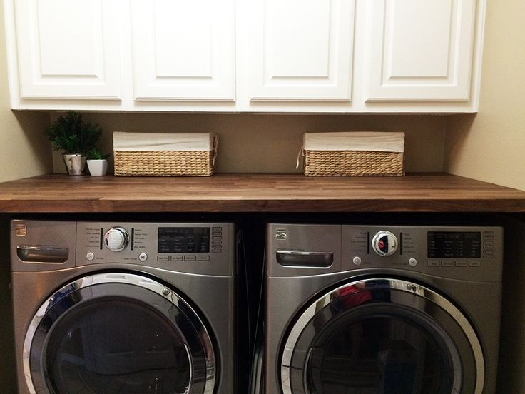 butcher block countertop in laundry room home