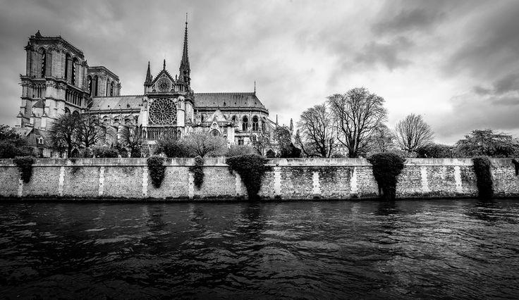 Paris B&W cityscape. Notre Dame gothic cathedral