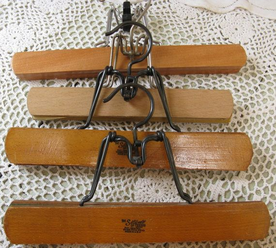 4 wooden pants hanger sets mid century era by rivertownvintage, $16.99