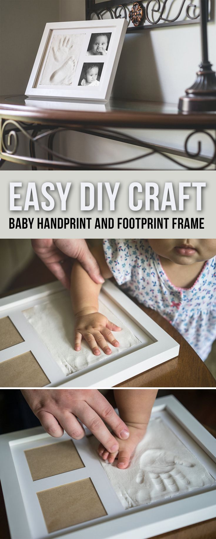 Our baby footprint kits and handprint kits are a fun DIY project. Create treasured memories with this easy DIY craft project - This personalised baby keepsake kit includes:   •THREE packages of soft, pliable, air-drying clay•Safe non-toxic clay is easy-to-use for baby prints. Great gift idea for grandma!