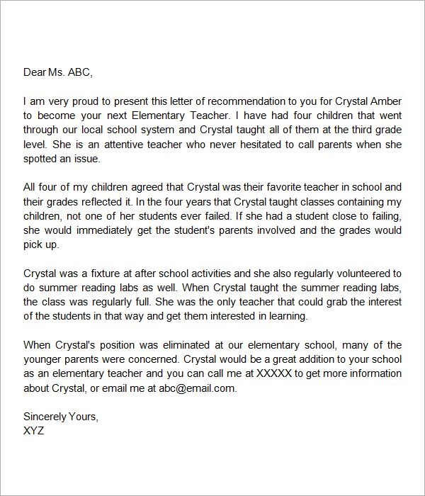 letter of recommendation template teacher