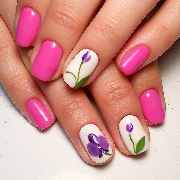 Beautiful summer nails, Bright pink nails, Bright summer nails, Floral nails, flower nail art, Magic nails, Nails with flowers, Summer fashionable nails