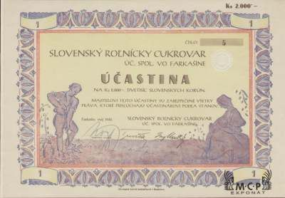 A1184  Muzeum cennych papiru / Slovenský roľnícky cukrovar, úč. spol. vo Farkašíne Akcie 2 000 Ks Farkašín, 01.05. 1940 / AZP3CZ168