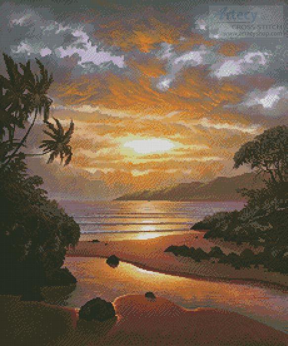 Artecy Cross Stitch. Memories of the Sunset Cross Stitch Pattern to print online.