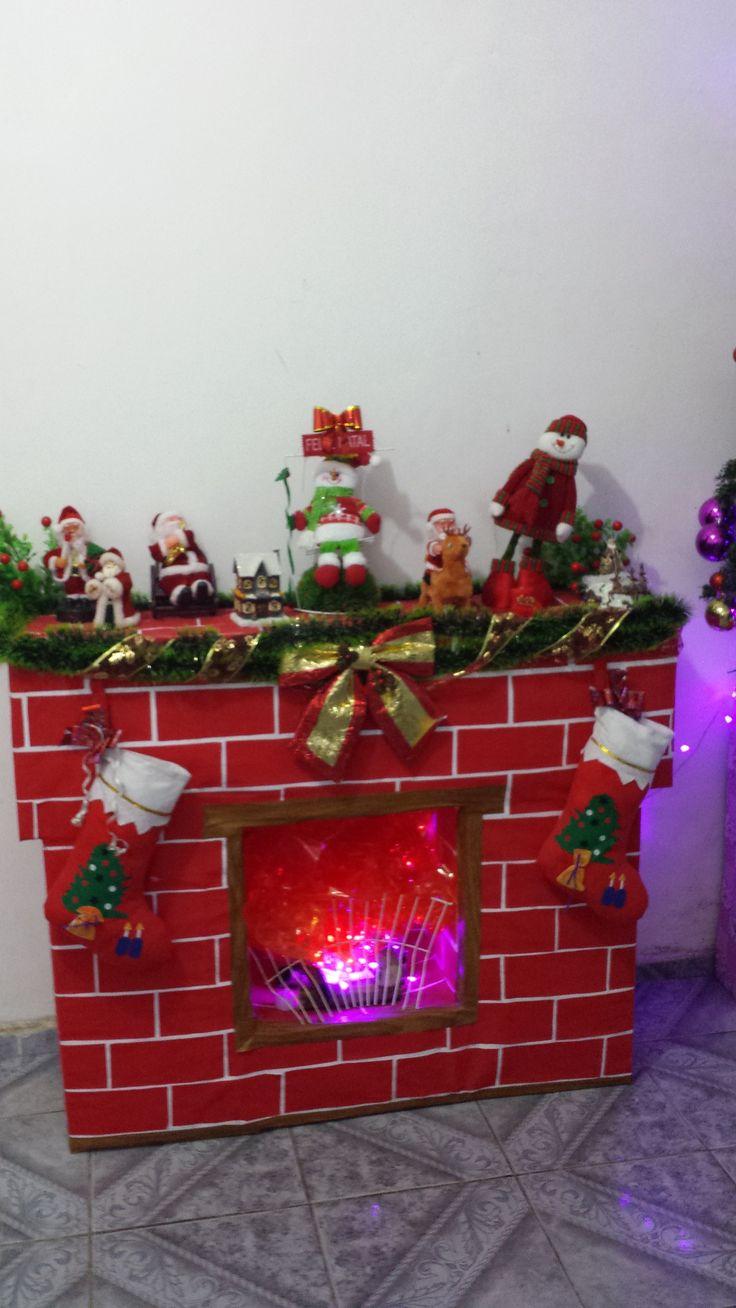 Minha lareira Natal 2014 - usado 3  CXS de Ovos de papelão, cartolina Branca e papel Camurça e cola