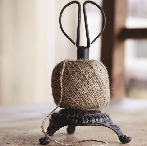 Cast Iron Twine Holder With Scissors - used to dispense jute like they used to in the old country stores - via Antique Farmhouse