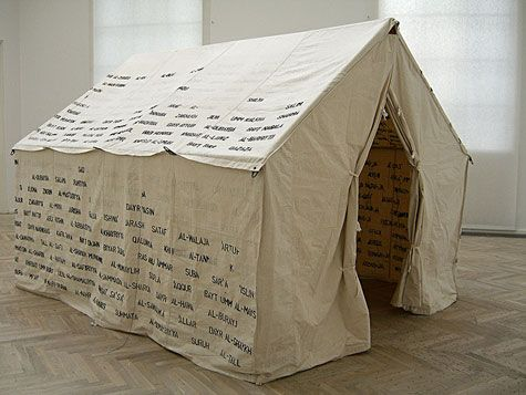 Emily Jacir memorial to 418 palestinian villages...  Refugee tent 2001