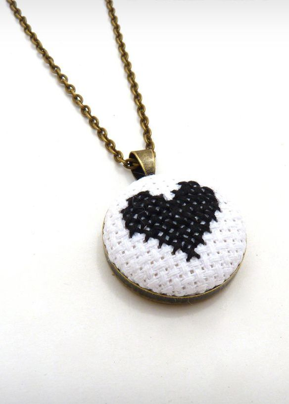 Black and White Cross Stitched Heart Necklace