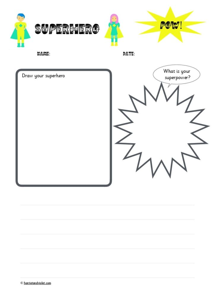 Superhero Character Planning Writing Template Free Teaching Resources Print Play Learn