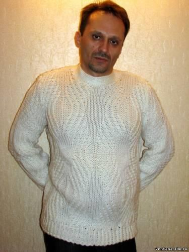 Зимние мужские свитера вязаные спицами