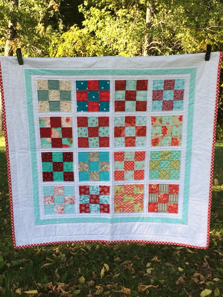 Modern Patchwork Quilt | Nine Patch | Homemade Quilt | Lap quilt | Modern Baby Quilt | Etsy Baby | Keep Sake Gifts | Red + Aqua Quilt | by Painting4him on Etsy https://www.etsy.com/listing/286527175/modern-patchwork-quilt-nine-patch