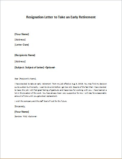 Resignation Letter To Take An Early Retirement  Retirement