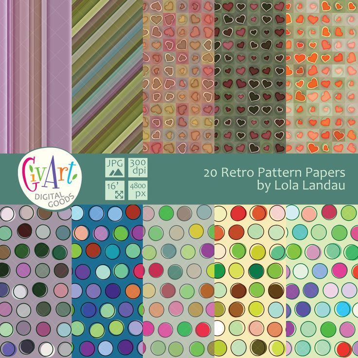 20 retro pattern digital paper with stripaes, polka dots and hearts for invitations, birthdays, scrapbooking. Instant Download by GivArt on Etsy