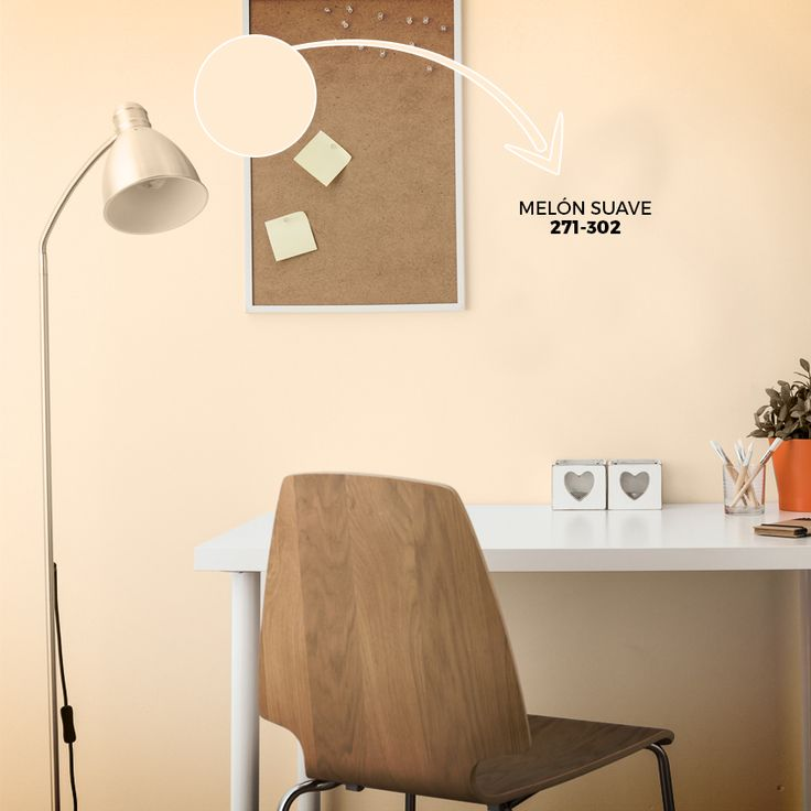 Para el área de estudio de los adolescentes, crea una tendencia clásica con Melón Suave 271-302 de la línea AV-2000 Brillo de Seda. Imprime un toque de sobriedad con accesorios de madera.