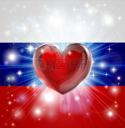 burst: Flag of Russia patriotic background with pyrotechnic or light burst and love heart in the centre