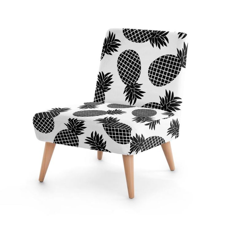 Pineapple In Black Occasional Chair #botanical #pattern #furniture #design #fashion #home #hometrends #chair #pineapple #blackandwhite