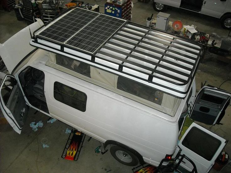 Aluminess Roof Rack With Dual Solar Panels Van Roof