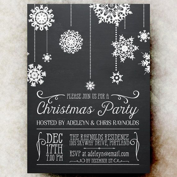 Chalkboard Christmas Party Invitation  White by DivineGiveDigital