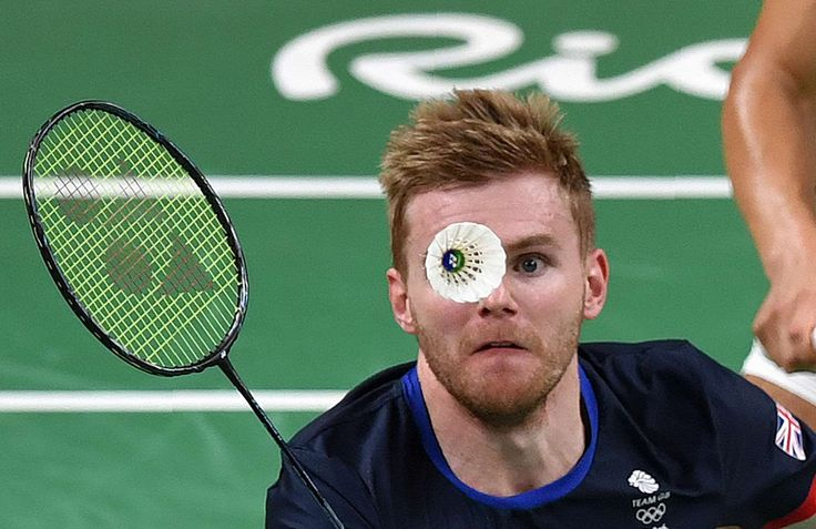 Birdie watching:    Great Britain's Marcus Ellis during his men's doubles semifinal badminton match at the Summer Olympics in Rio de Janeiro on Aug. 16.