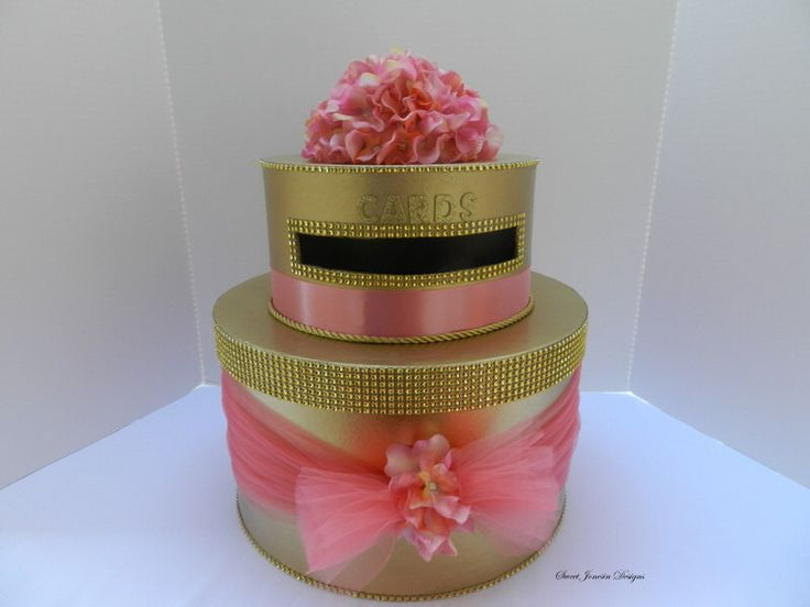 Coral & Gold Wedding Cake Card Box by SweetJonesin on Etsy https://www.etsy.com/listing/223604830/coral-gold-wedding-cake-card-box