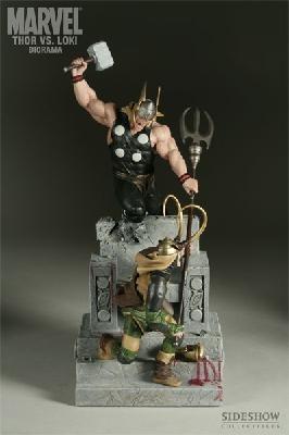 MARVEL Comics Sideshow Toys THOR vs LOKI statue Diorama