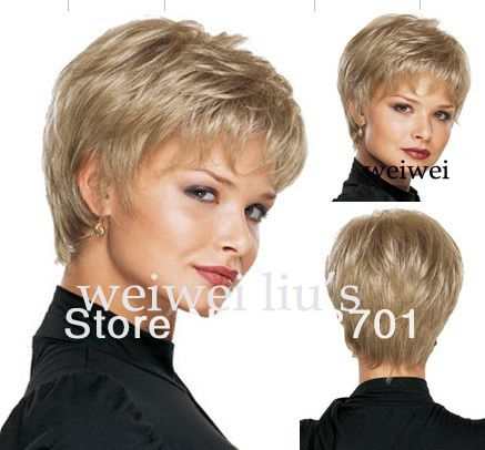 Женщины хорошая короткая естественная прямая парик стильной леди блондинка из синтетических волос бесплатная доставка купить на AliExpress
