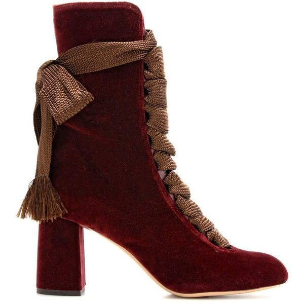 Chloé Harper Velvet Boots ($1,610) ❤ liked on Polyvore featuring shoes, boots, velvet boots, velvet shoes, chloe shoes, chloe boots and bordeaux shoes