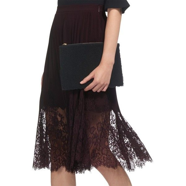 Whistles Lillian Pleated Lace Skirt (£135) ❤ liked on Polyvore featuring skirts, flare skirt, lace overlay skirt, whistles skirts, lined skirt and flared skirt