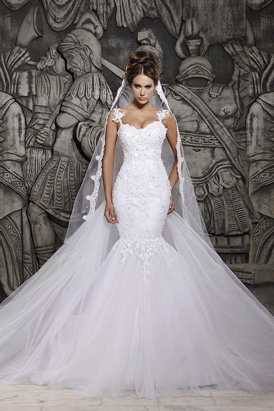 2014 Diseñadores White Lace And See A través de vestidos de novia de sirena con extraíble de tren vestidos de novia de tul MH 101 en Vestidos de Novia de Moda y Complementos en AliExpress.com   Alibaba Group