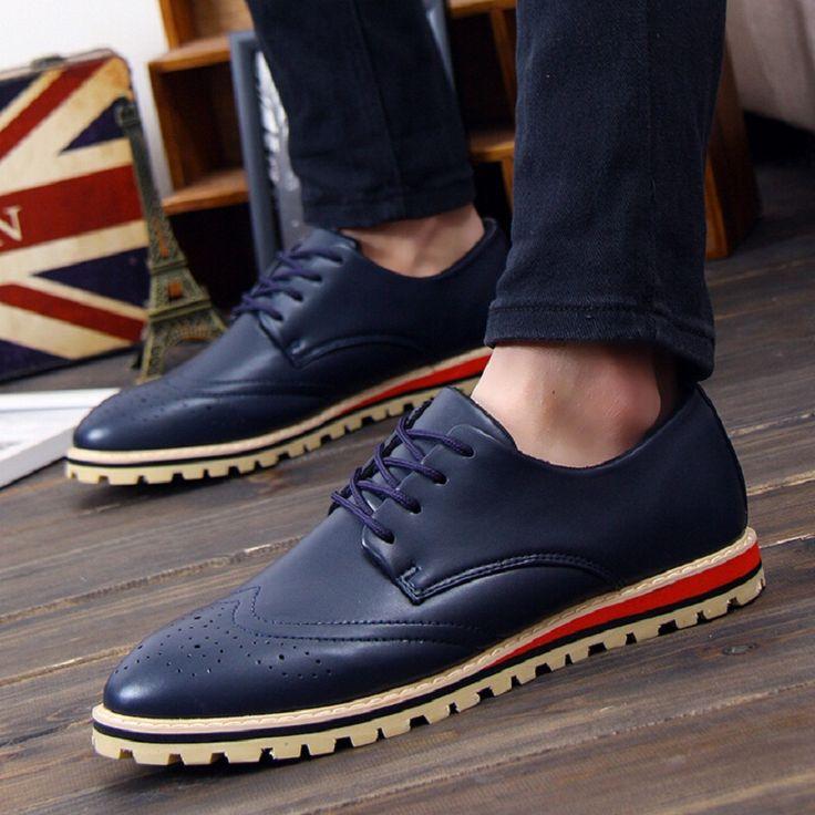Новый 2015 Мода Мужская Обувь Кожаная Обувь мужская Квартиры Обувь с Низким мужчины Оксфорд Ботинки X308 50