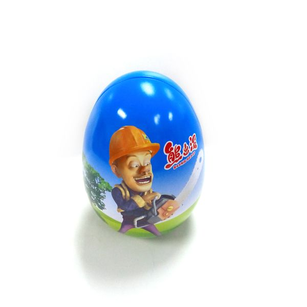 custom egg shaped candy tin box supplier
