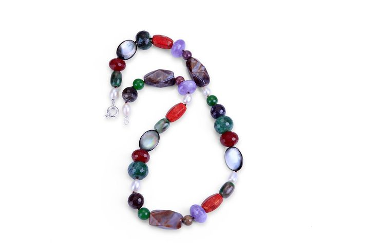 Let's make this winter more colourful, colourful gemstone necklace design and made by Neige https://www.etsy.com/au/listing/244482430/multi-coloured-gemstone-and-pearl