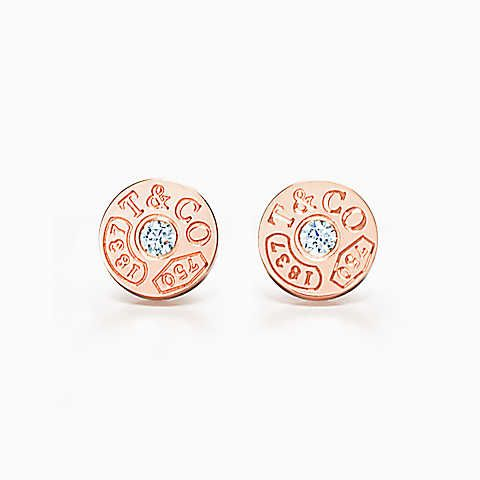 Tiffany 1837™ circle earrings in 18k rose gold with diamonds.