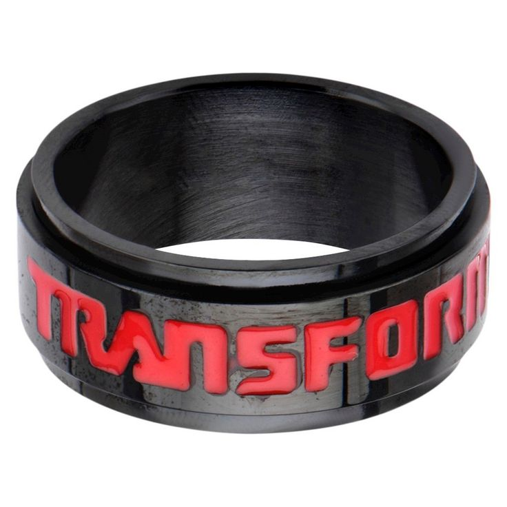 Men's Hasbro Transformers Stainless Steel Spinner Ring - Black/Red (12)
