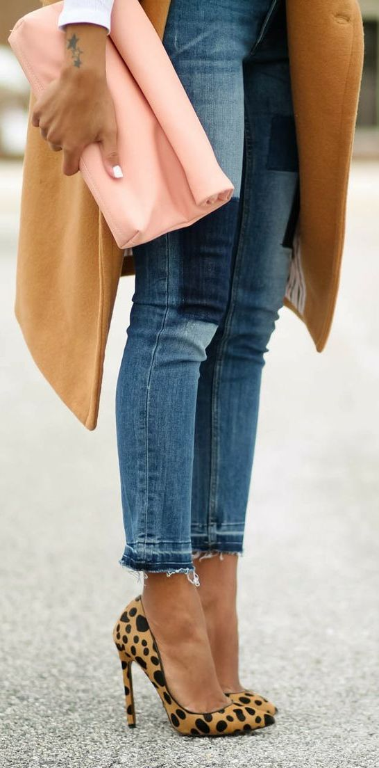 Street fashion - Fall chic: Camel, Pink And Jeans