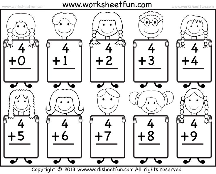 Beginner Addition Basic Addition facts 9 Kindergarten Addition – Maths Kindergarten Worksheets